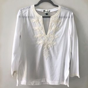 J Crew Embroidered Beachy Top
